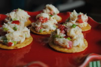 Asian Crab Salad Topped Brown Rice Crisps